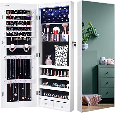 Nicetree 8 Led Mirror Jewelry Cabinet Jewelry Armoire Organizer With Full Screen Mirror Wall Door Mounted Full Length Mirror White Home Kitchen