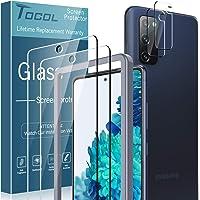 TOCOL 4-pack kompatibel med Samsung Galaxy S20 FE 5G 16,5 cm, 2-pack skärmskydd härdat glas och 2-pack kameralinsskydd…