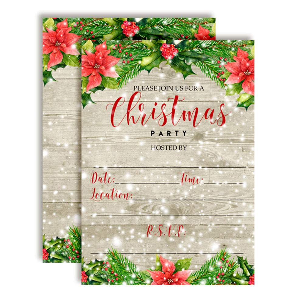 Winter Snow with Red Poinsettias Christmas Holiday Party Invitations 20 5x7 Fill in Cards with Twenty White Envelopes by AmandaCreation