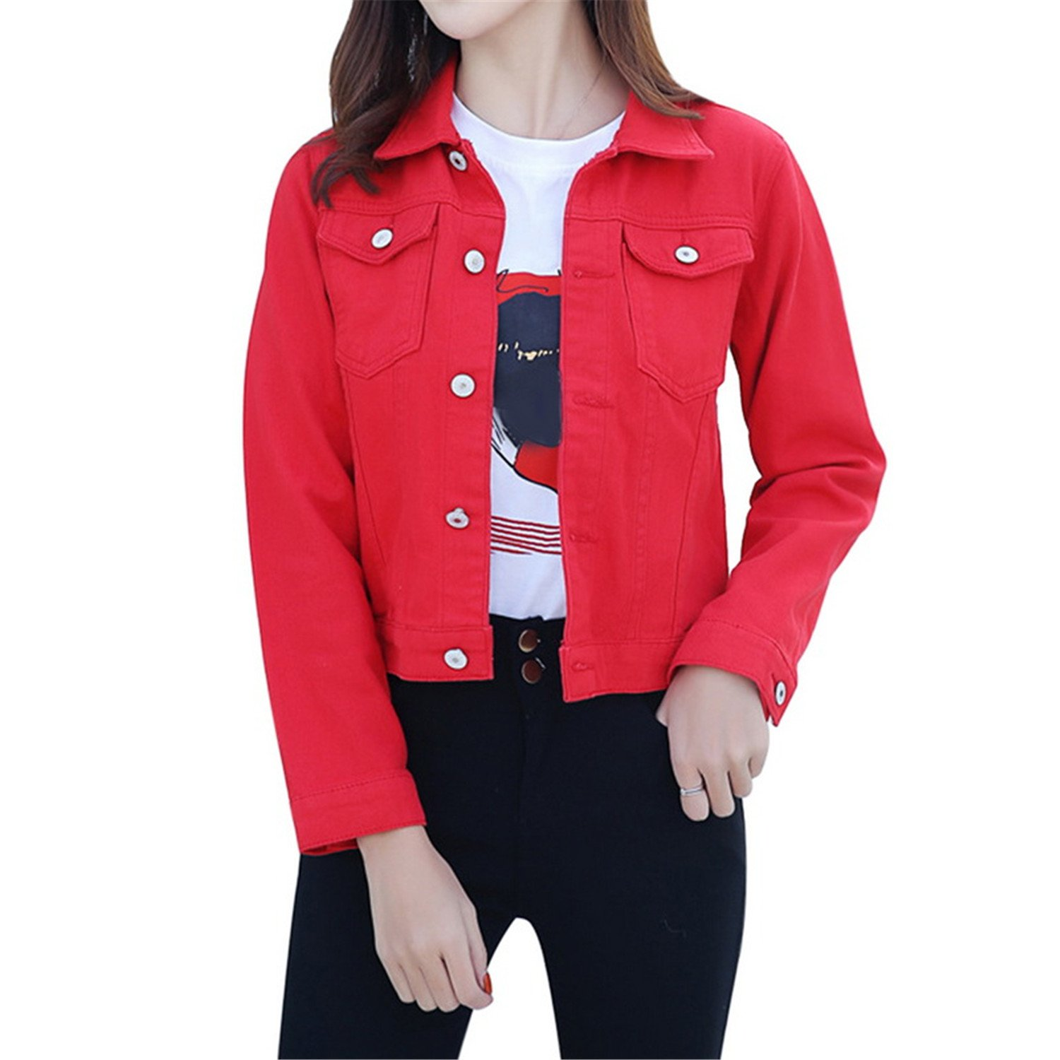 Modern Style 2019 Fashion Jeans Jacket Women Long Sleeve ...