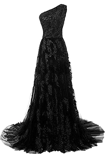 Fanciest Womens One Shoulder Lace Prom Dresses 2017 Long Evening Gowns Black US2