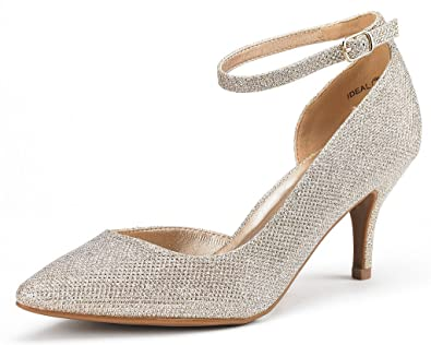 dc02ec572b2 DREAM PAIRS Women s Ideal Gold Glitter Low Heel Dress Pump Shoes - 5 ...