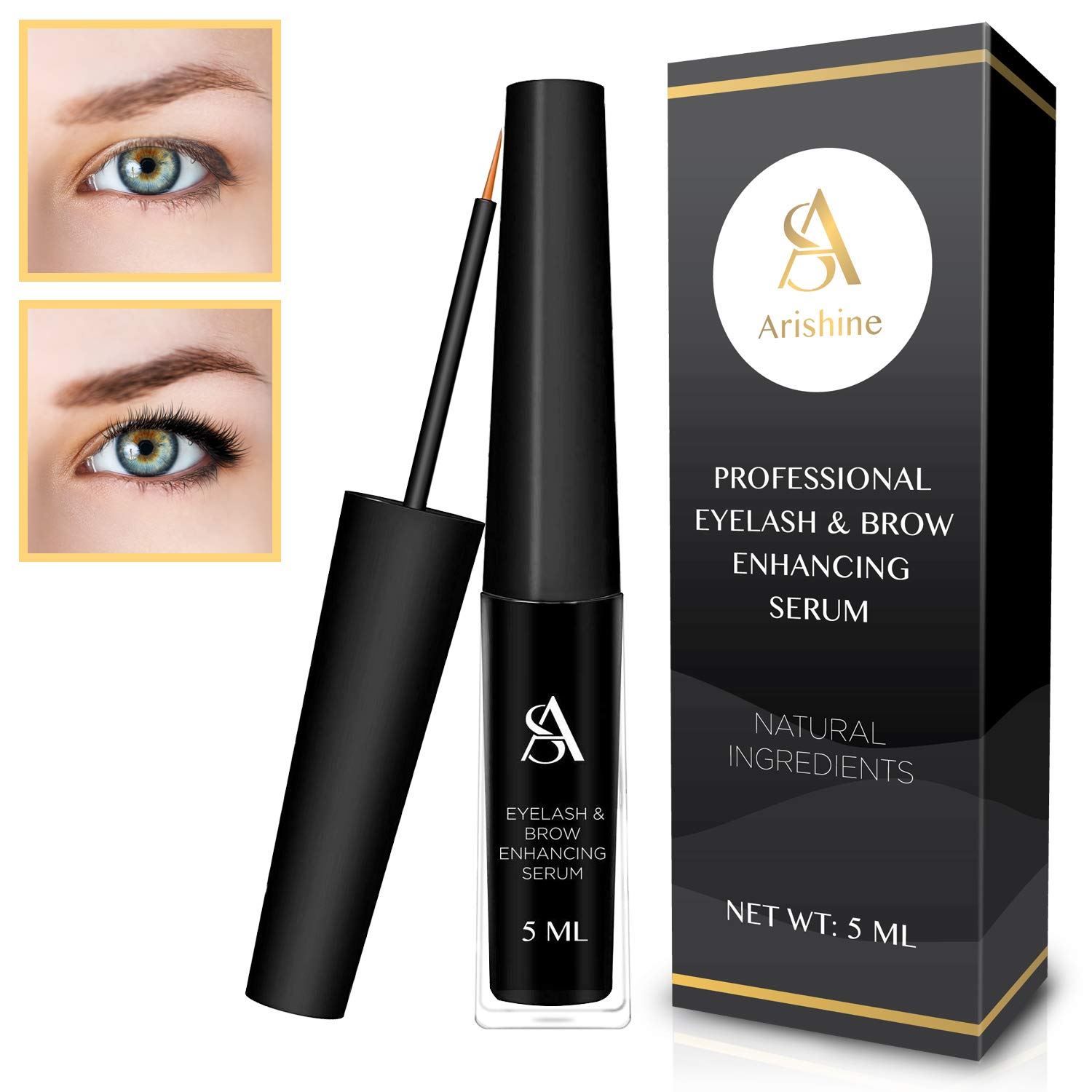 Eyelash & Eyebrow Growth Serum - natural Eyelash Growth Enhancer & Brow Serum