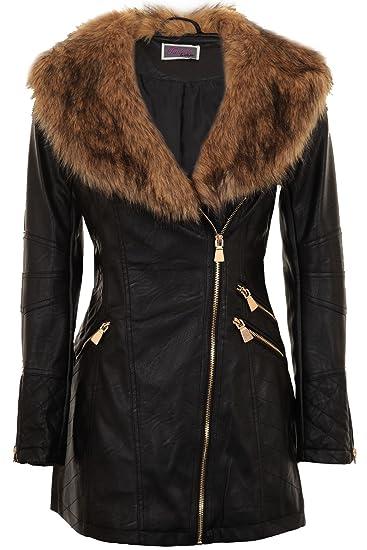real deal choose original special discount SAPPHIRE BOUTIQUE Womens PU Leather Faux Fur Collar Belted Waist Gold Size  Zip Long Biker Jacket