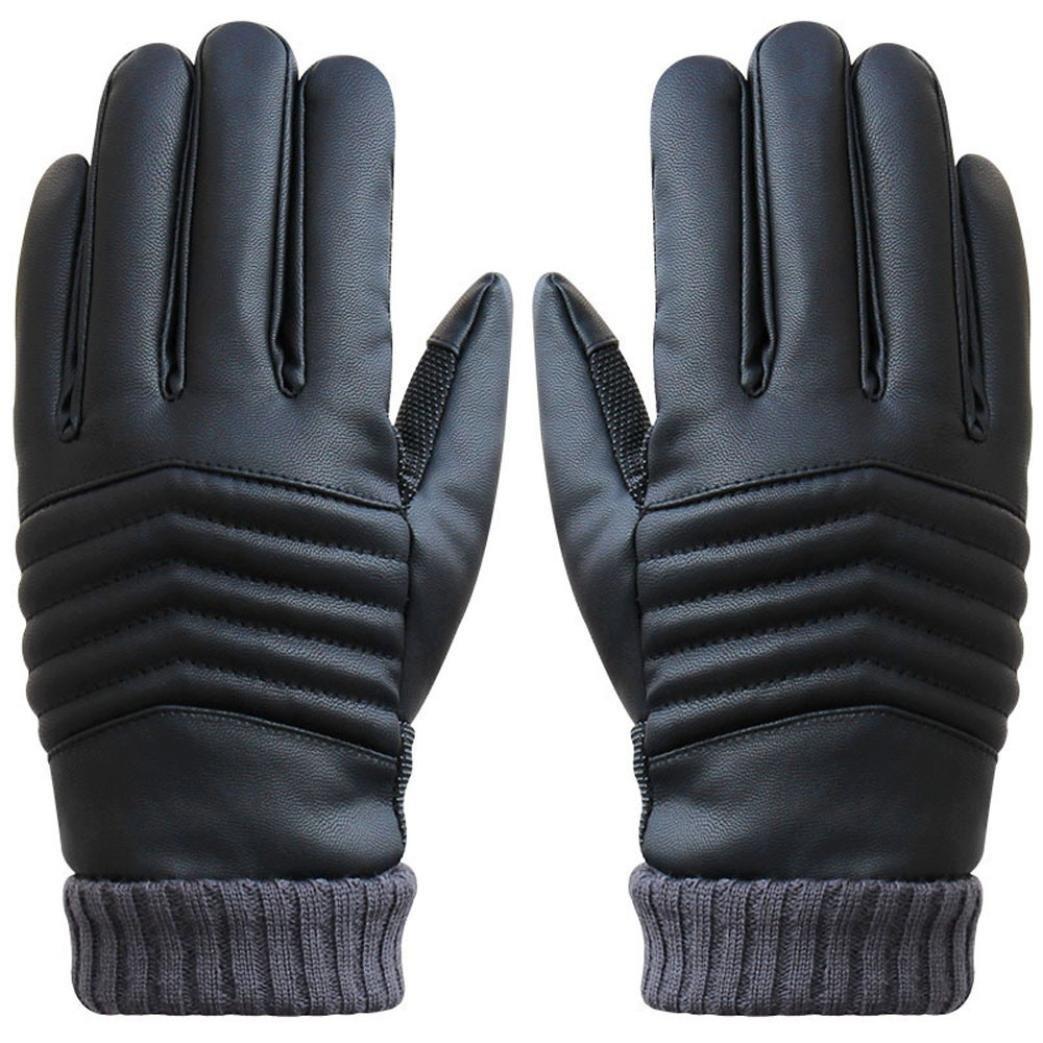 Binmer(TM)Mens Gloves Anti Slip Men Winter Sports Leather Touch Screen Gloves
