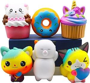 Korilave 6Pcs Squishies Toys Jumbo Slow Rising Squishy Pack Cupcake,Unicorn Cake,Donut,Cat for Kids Gift Stocking Stuffer,Party Favors,Classroom Prize Treasure Box