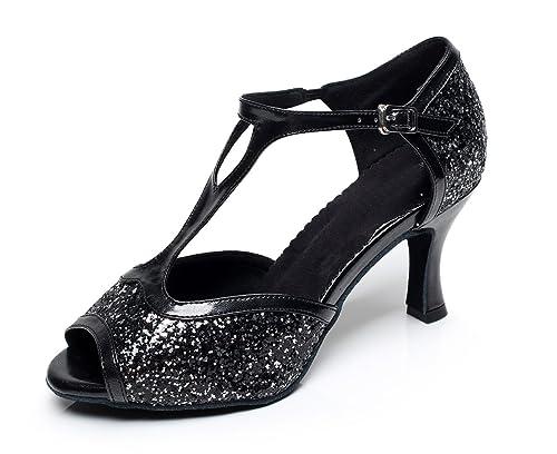 MINITOO da Donna Stile QJ6205 Flare Tacco Glitter Salsa Latino Scarpe da  Ballo 7a06e269529