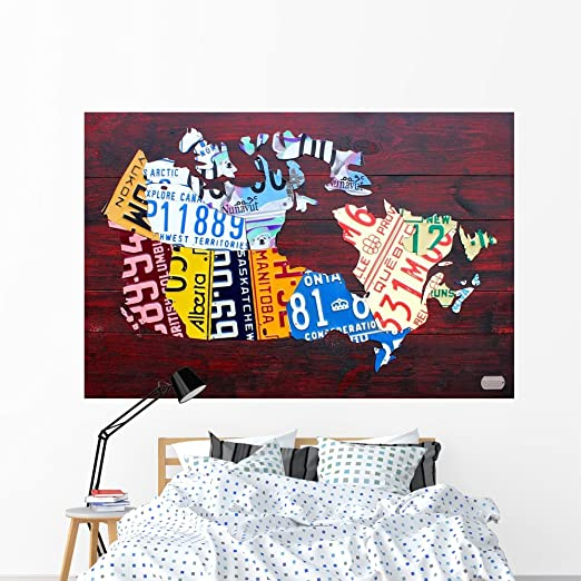 Amazon Com Wallmonkeys Canada License Plate Map Wall Mural By