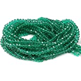 Chengmu 4mm Green Rondelle Glass Beads for Jewelry Making 1400pcs Faceted Briolette Shape Crytal Spacer Beads…