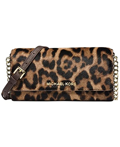 3c9c729d6f85 ... cheapest michael kors jet set travel leopard hair calf chain wallet  9c490 a6c27