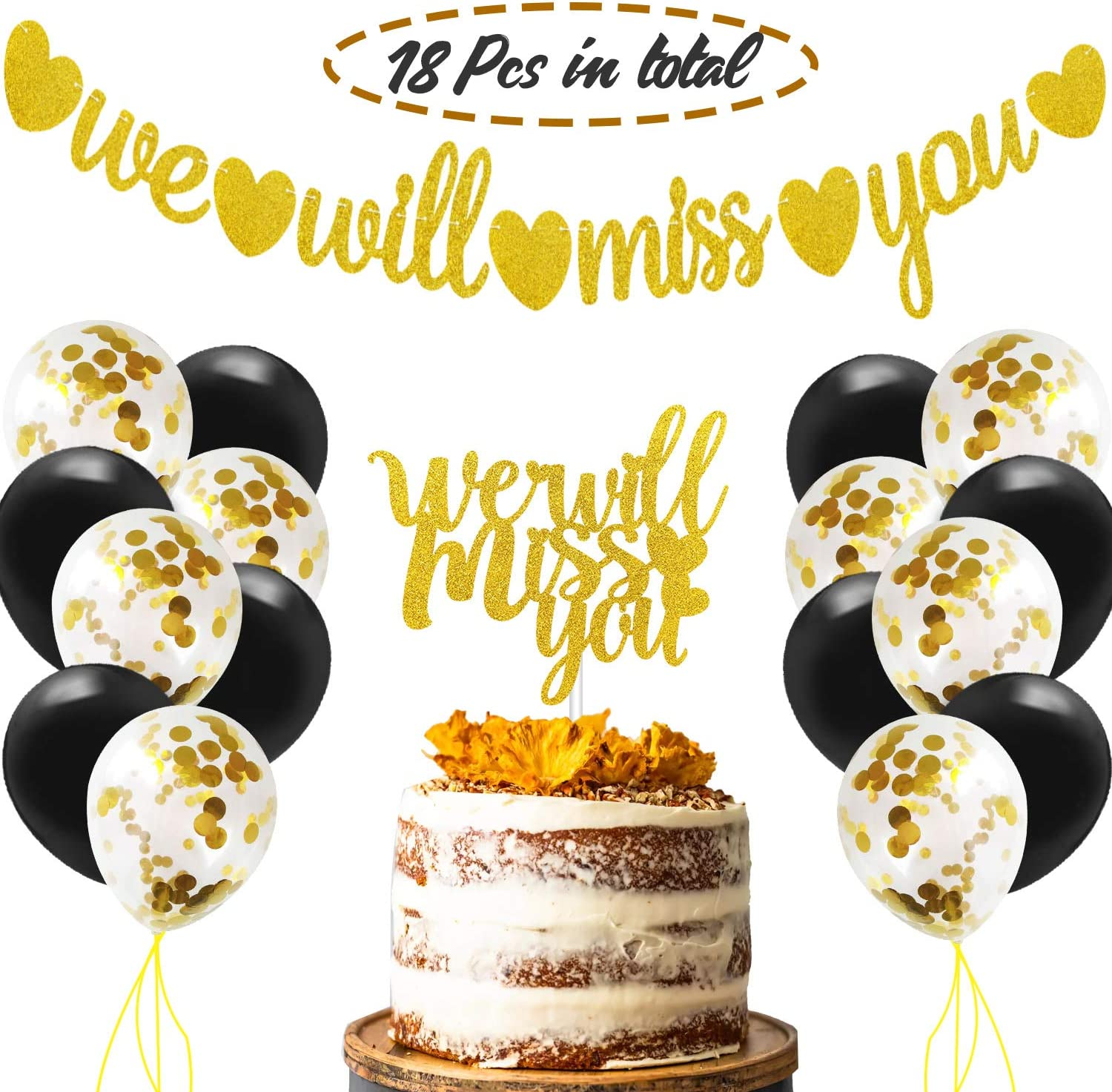 We Will Miss You Bunting Banner & Cake Topper Gold Glitter Party  Decorations with Balloons Kit for Retirement Going Away Farewell Job Change