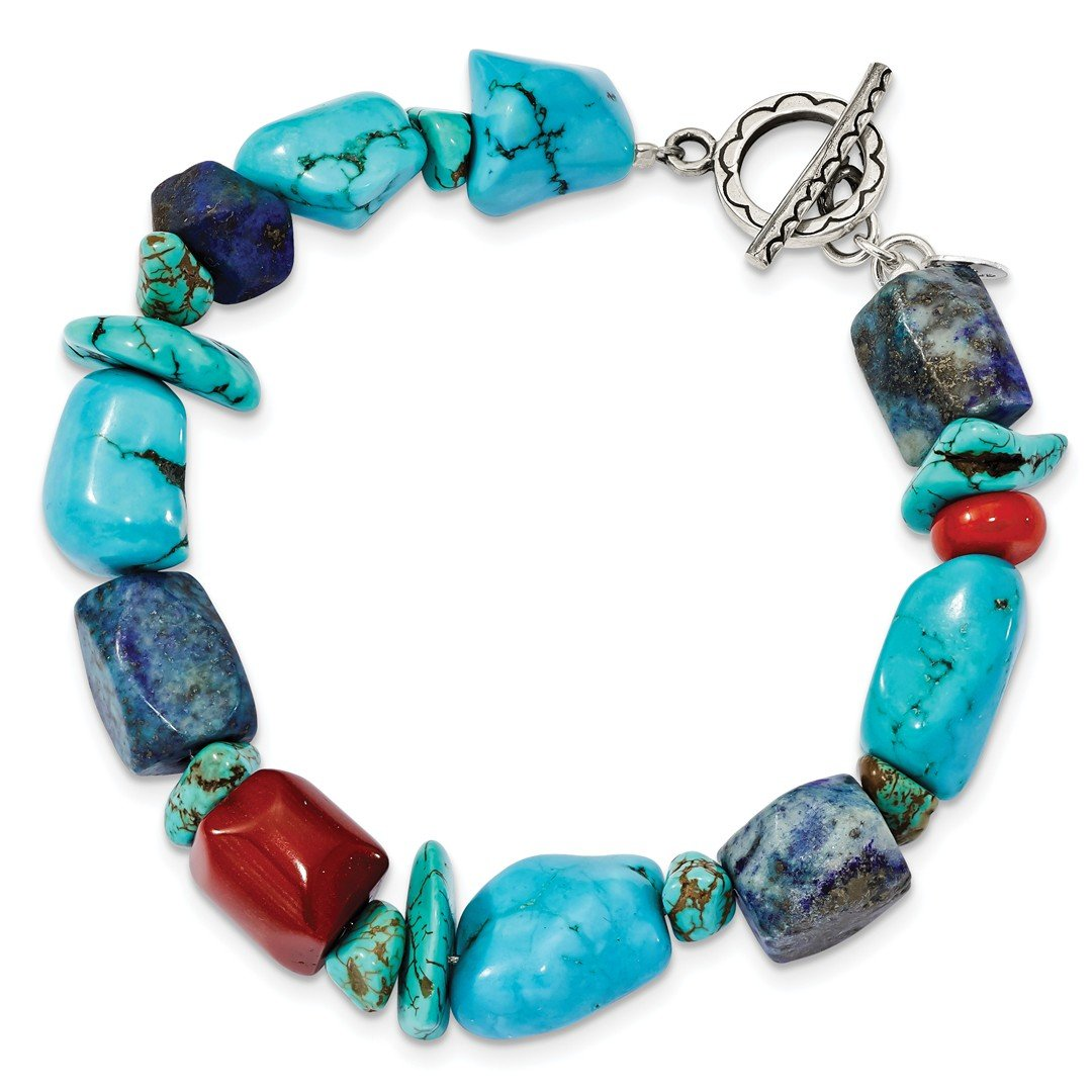 ICE CARATS 925 Sterling Silver Red Coral/howlite/lapis Blue Turquoise Bracelet 8 Inch Gemstone Fancy Fine Jewelry Ideal Gifts For Women Gift Set From Heart