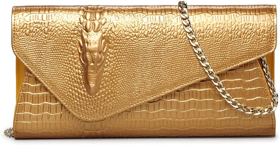 SLR Spring-Summer Dinner with a Shoulder Messenger Bag Womens Crocodile Pattern Envelope-shaped Pouch