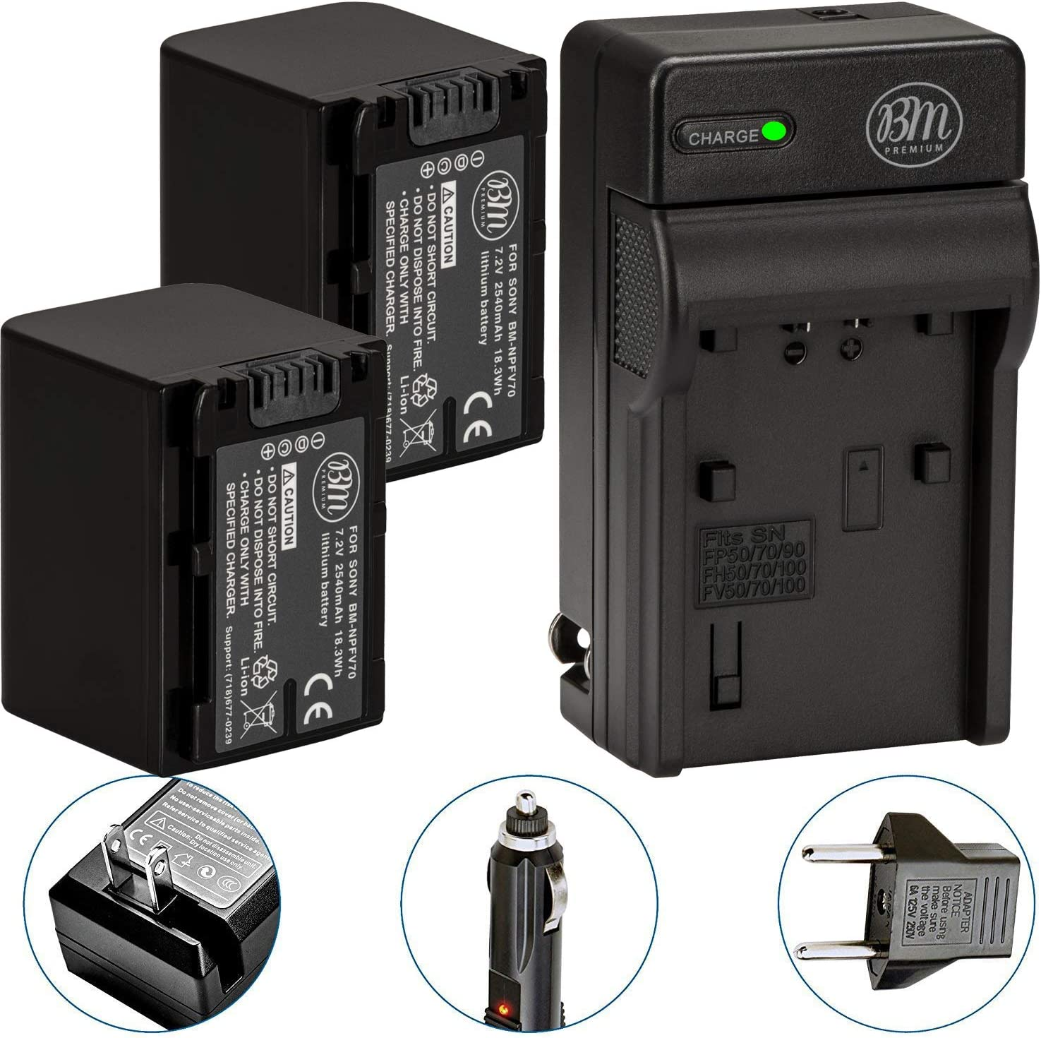 Pack Of 2 NP-FV70 Batteries & Battery Charger Kit for Sony HDR-CX190 HDR-CX200 HDR-CX210 HDR-CX220 HDR-CX230 HDR-CX260V HDR-CX290 HDR-CX380 HDR-CX430V HDR-CX580V HDR-CX760V HDR-PJ230 HDR-PJ380 HDR-PJ430V HDR-PJ580V HDR-PJ650V HDR-PJ710V HDR-PJ760V HDR-PV790V HDR-TD20V HDR-TD30V Handycam Camcorder + More!! : Camera & Photo