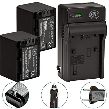 Pack Of 2 NP-FV70 Batteries & Battery Charger Kit for Sony HDR-CX190  HDR-CX200 HDR-CX210 HDR-CX220 HDR-CX230 HDR-CX260V HDR-CX290 HDR-CX380  HDR-CX430V