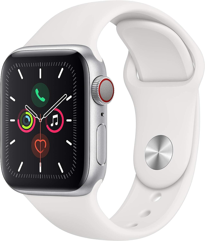 Apple Watch Series 5(GPS+Cellularモデル)40mmシルバーアルミニウムケースとホワイトスポーツバンド