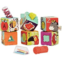 B. Toys – ABC Block Party Baby Blocks – Soft Fabric Building Blocks for Toddlers – Educational Alphabet Blocks with 6…