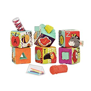 B. Toys – ABC Block Party Baby Blocks – Soft Fabric Building Blocks for Toddlers – Educational Alphabet Blocks with 6 Textured Toy Blocks & 5 Shapes – Grab & Stack Blocks