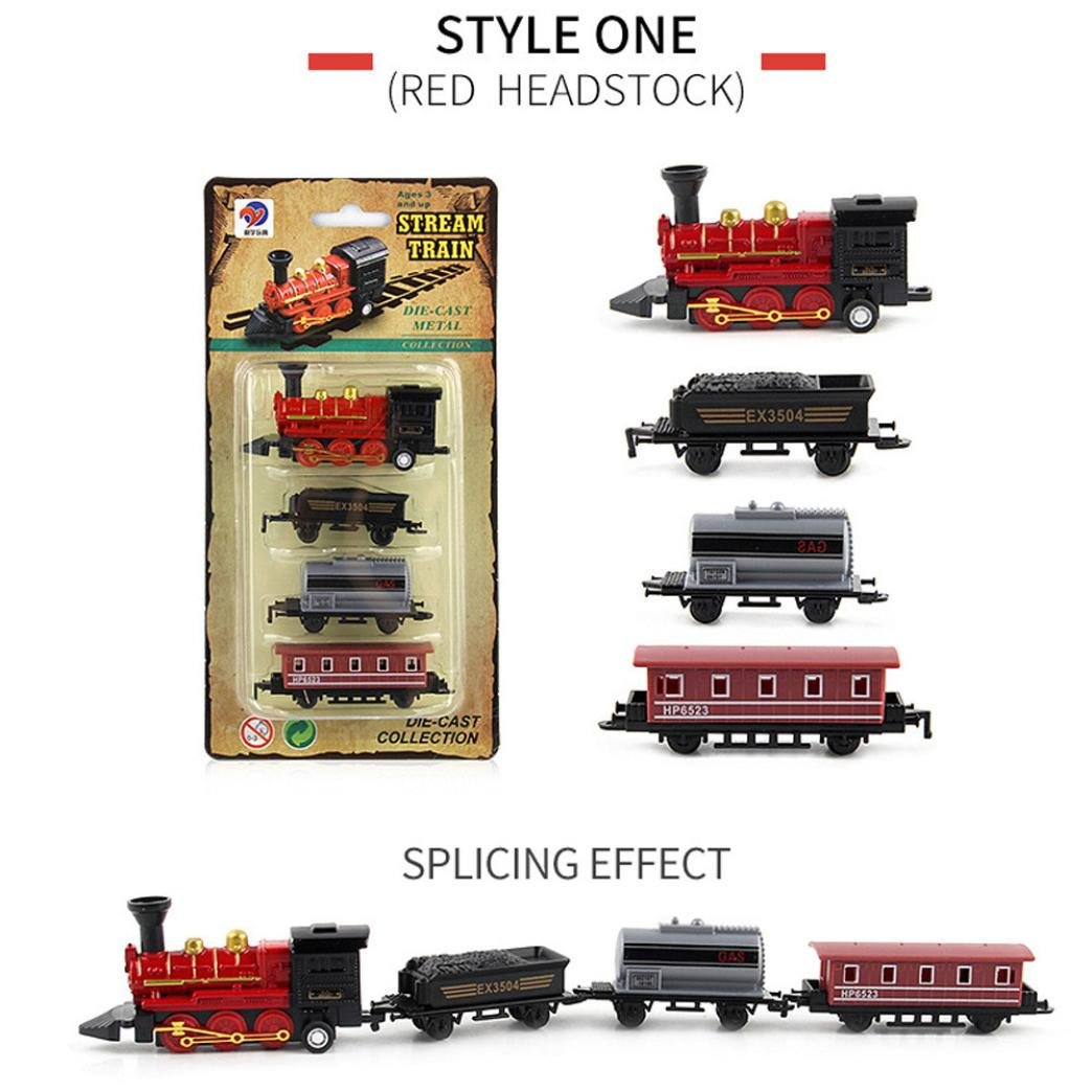 LuckyBB Classical Alloy Retro Steam Simulated Joint Train Model Toys Kid Child Pull Back Train Toys (Black)