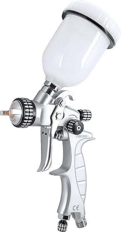 Benbow Lackierpistole Pk60 Mini 0 8mm Düse Profi Qualität Spritzpistole Allzwecklackierpistole Sprühpistole Spraypistole Spray Gun Farbsprühsystem Mit Fließbecher Auto