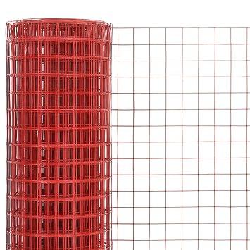 Festnight- Maschendraht Stahl Volierendraht Maschendrahtzaun mit PVC-Beschichtung 10 x 0,5 m Quadrat Rot