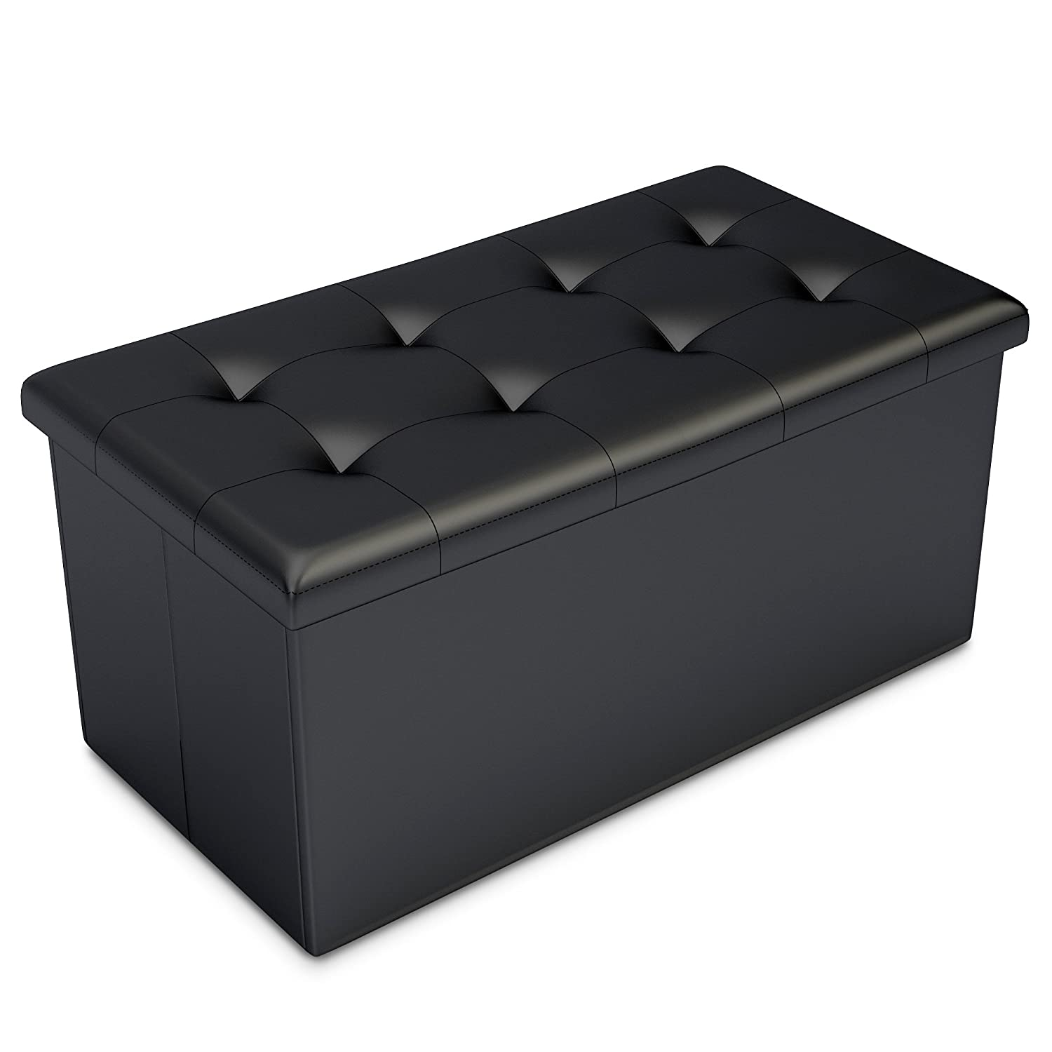 Black Faux Leather Ottoman Storage Bench -Great as a Double Seat or a  Footstool, Coffee Table, Kids Toy Chest Trunk, Pouffe Living Room Furniture  - Space ... - Storage Ottoman Amazon.com