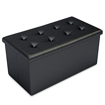 Black Faux Leather Ottoman Storage Bench  Great As A Double Seat Or A  Footstool,