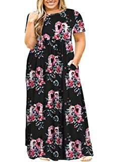 bb69cd8af POSESHE Women's Plus Size Tunic Swing T-Shirt Dress Long Sleeve Maxi Dress  with Pockets