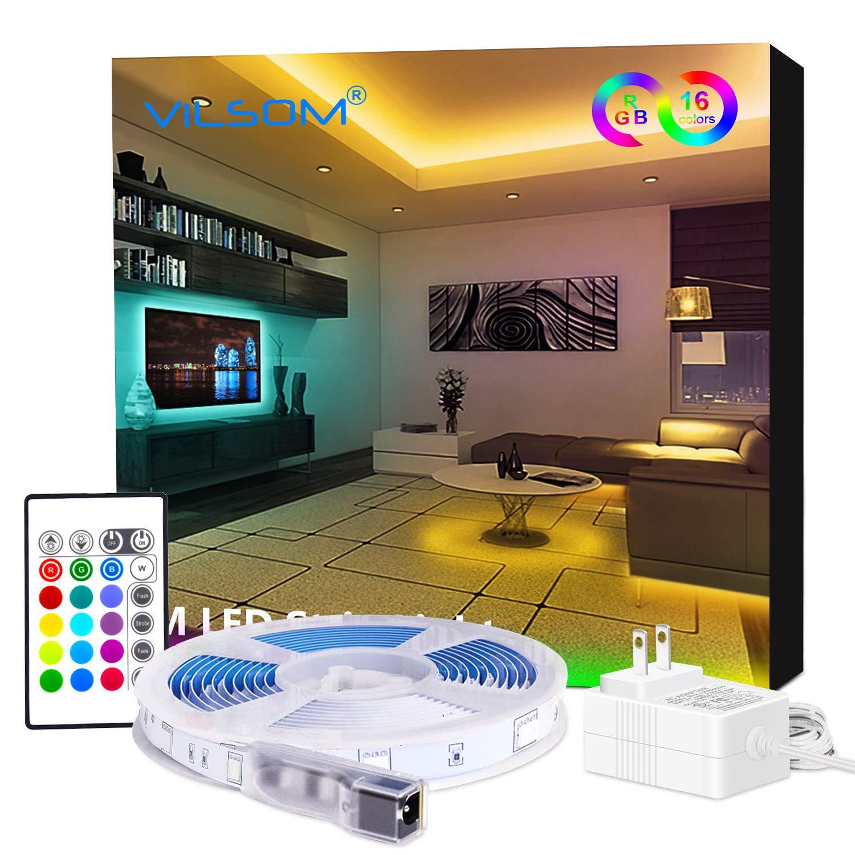 Led Strip Lights, ViLSOM 16.4ft Light Strip Kit with Remote and SMD 5050 RGB Color Changing Led-Lights-for-Bedroom-Room, TV, Kitchen and Home Decor Bias Lighting