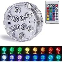 Luces sumergibles Luces LED sumergibles con luces subacuáticas a prueba de agua con control remoto Luces decorativas LED…