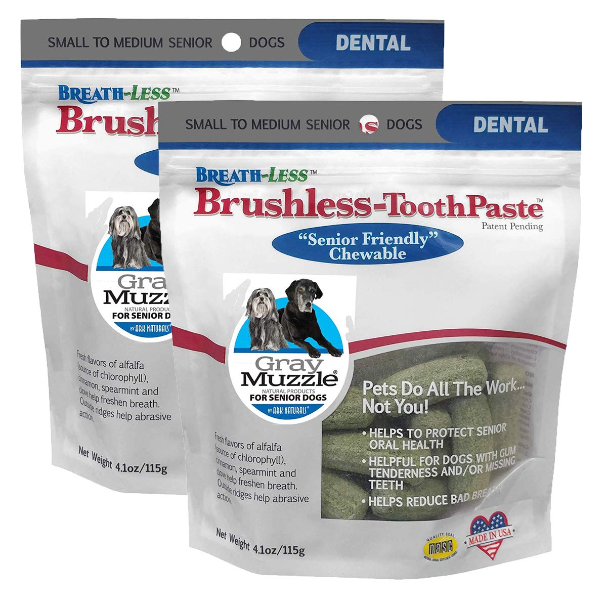 Ark Naturals Breath-Less Brushless Toothpaste, Vet Recommended Natural Dental Chews for Dogs, Plaque, Tartar and Bacteria Control by ARK NATURALS