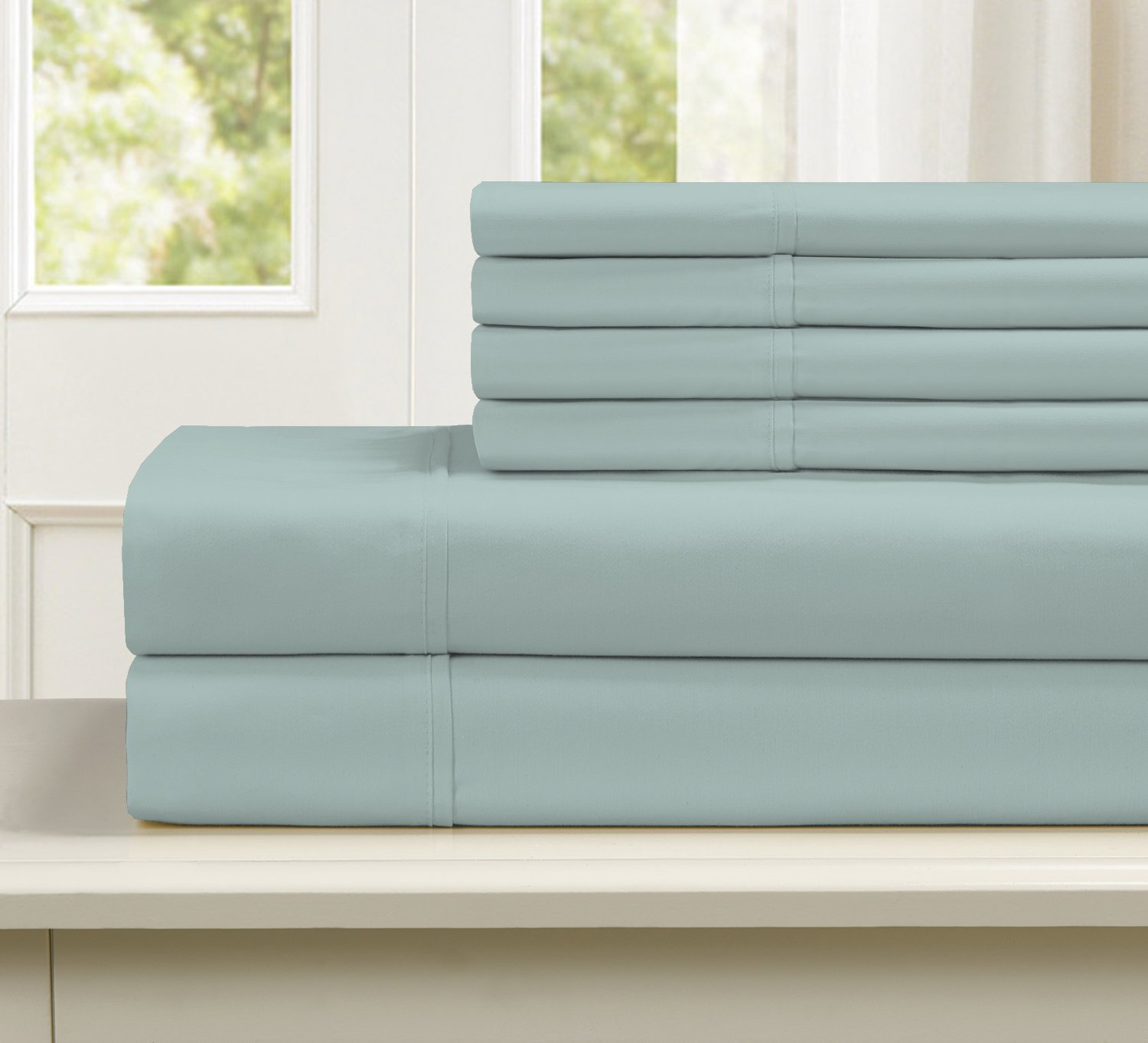 Blissful Living 800 Thread Count Cotton Rich 4-6 Piece Sheet Set - Includes Extra Pillowcase(S)! Super Soft, Hotel Quality Luxury (King, Aqua) - SOFT, COMFORTABLE AND DURABLE: Our 800 thread count sheets are made with 55% Cotton and 45% Polyester, the cotton is breathable, durable and grows softer over time. We mixed in the polyester because it helps give the sheets a crisp smooth feel, giving you the best night's sleep you can imagine. Perfect gift for Mom, Dad, Grandparents, anyone in the family, friends, co-workers on occasions like birthdays, Christmas and more. GREAT VALUE: Get the exceptional feel of cotton sheets without breaking the bank and not compromising quality at the same time. This bed sheet set is perfect for the bed of any adult, teen, child or even toddler with sizes fitting twin, full, queen and king size mattresses. COMPLETE SHEET SETS + EXTRA PILLOWCASE(S): Twin set includes 1 fitted sheet, 1 flat sheet and 2 standard pillowcases. Full and Queen size includes 1 fitted sheet, 1 flat sheet and 4 standard Pillowcases. King Size includes 1 fitted sheet, 1 flat sheet and 4 King size pillowcases, giving your bedroom, dorm room, apartment, or any other domain you can think a consistent beautiful look and feel. - sheet-sets, bedroom-sheets-comforters, bedroom - 71sjejG6E9L -