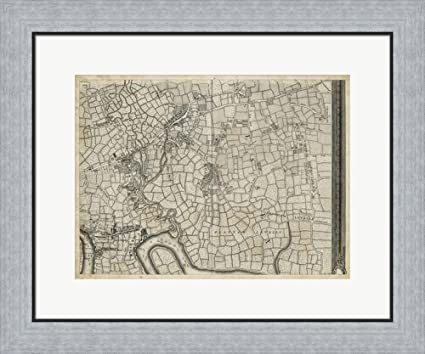 Amazon.com: Map of London Grid VIII Framed Art Print Wall Picture ...