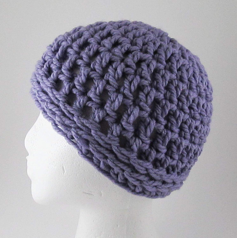 Amazoncom Chunky Crochet Messy Bun Hat Purple Ponytail Hat Handmade