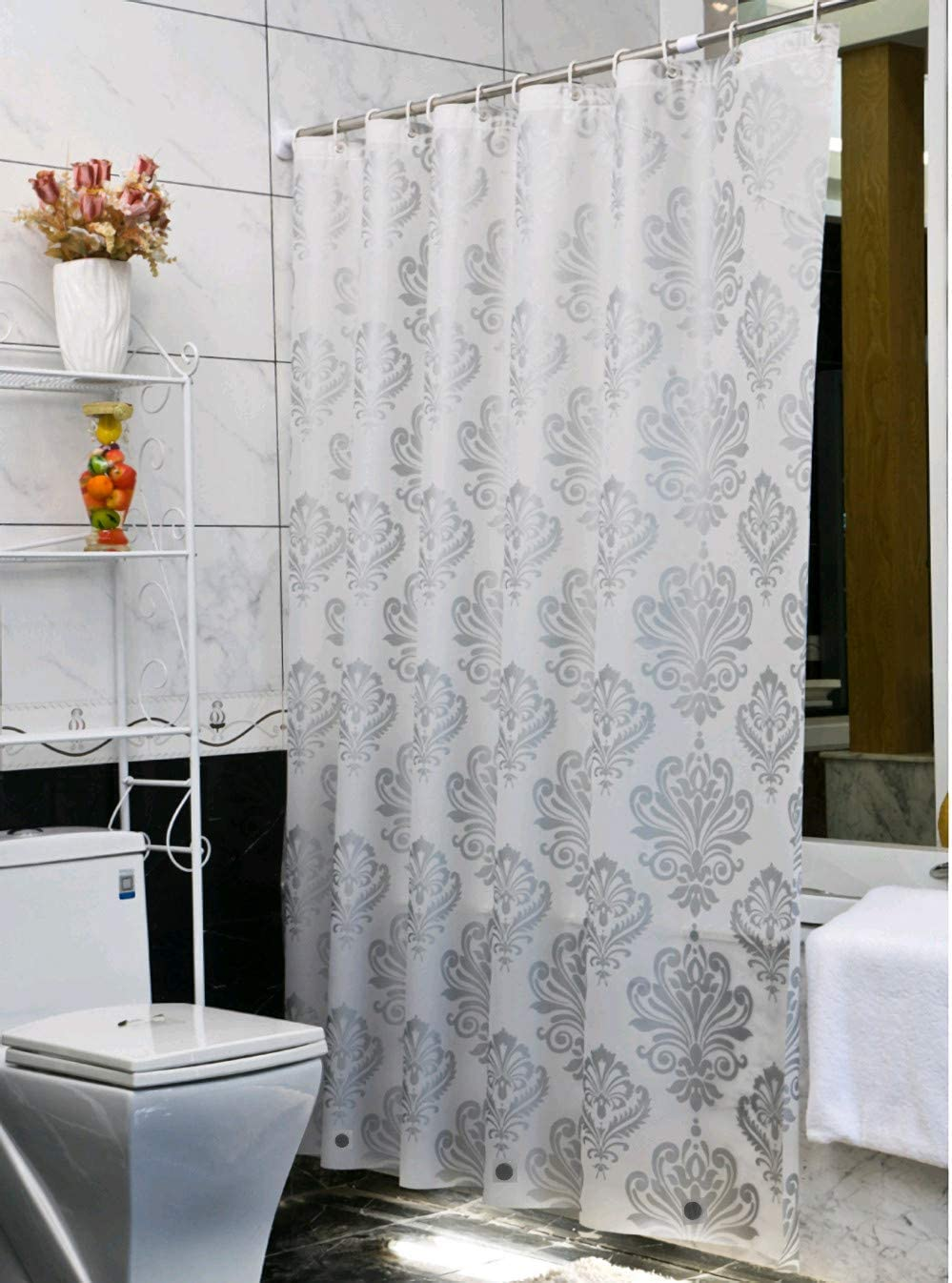 Ufelicity Shabby Chic Decor Waterproof Shower Curtain PEVA, 72 Inch by 78 Inch No Odors Bath Curtain Liner Durable, Sliver Grey Damask Pattern Design with Rings for Adults