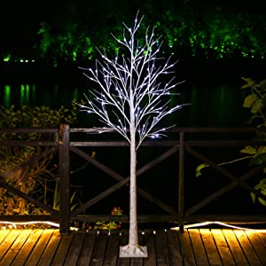 Brightdeco Lighted Birch Tree 6FT 96 LED Artificial Lamp for Indoor Use Great Décor for Home Bedroom Thanksgiving Christmas Easter Wedding Party White