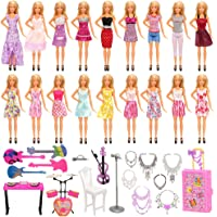 Barwa 18 Clothes Dreeses + 17 Accessories (6 Necklaces + Trunk + 10 Musical Instruments) for 11.5 Inch 28 - 30 cm Dolls