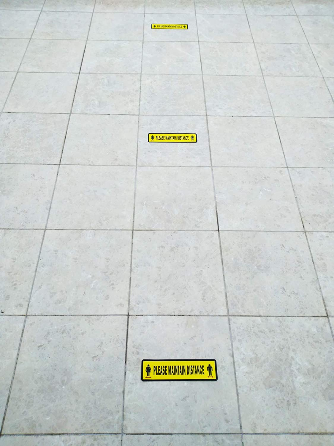 Floor Graphic Stickers for Business Please Maintain Distance Retailers Groceries 6 Decals Per Pack Pharmacy Social Distancing Sign Decals Hospitals 3 x 12 Eye-Catching Coronavirus Sticker