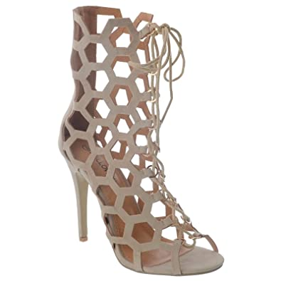 a03857755542 LADIES HIGH STILETTO HEEL CUT OUT LACE UP CAGED OPEN TOE ANKLE BOOTS SHOES  SIZE  Nude Faux Suede UK 4   EU 37   US 6   Amazon.co.uk  Shoes   Bags