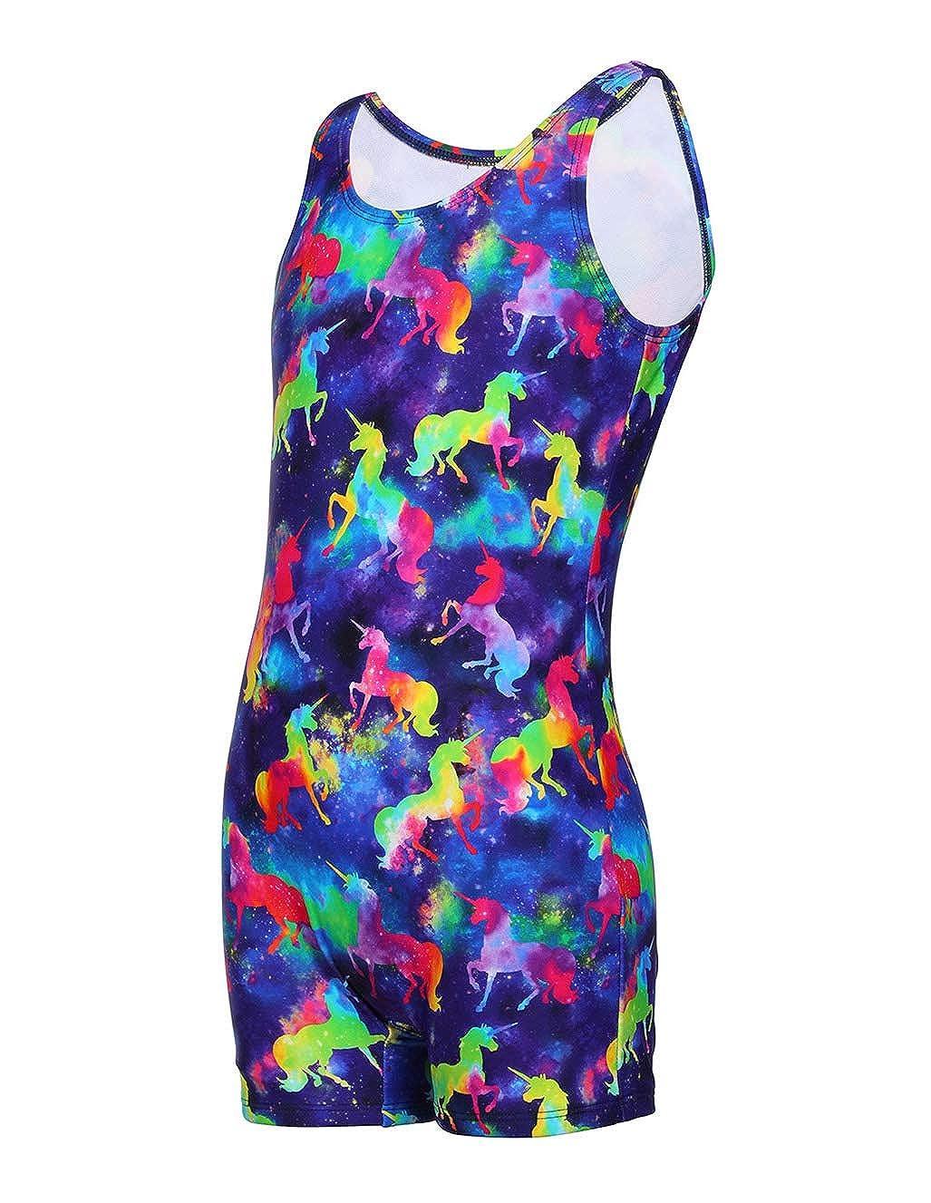 Size 4-16 LEINASEN Racer Back Girls Rainbow One Piece Swimsuits