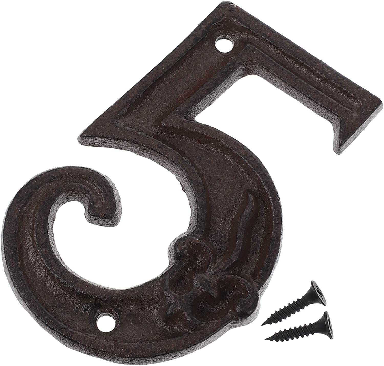 Tomaibaby 5-9 Números de Casa de Hierro Número de Dirección de Hierro Fundido Números de Metal Placa de Dirección de Casa Signo para Puerta de Patio Casa Número de Calle 5