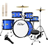 Drum Set Eastar 16 inch Kids Drum Set 5-Piece Junior Drum Set for Kids with Adjustable Throne and Cymbal, Pedal & Drumsticks,