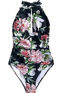 4ae3090253 CUPSHE Women's Keep Secrets Halter One Piece Swimsuit Beach Swimwear