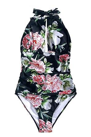 9bad15ca77d97 CUPSHE Women's Keep Secrets Halter One-Piece Swimsuit Beach Swimwear, ...