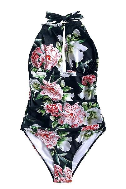 d70824963eb3 CUPSHE Women's Keep Secrets Halter One-Piece Swimsuit Beach Swimwear, ...
