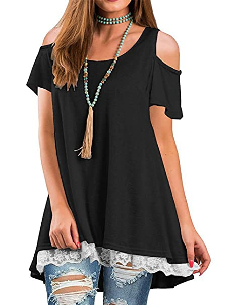 4286f71f8d50 Sanifer Women s Cold Shoulder Crew Neck Lace Short Sleeve Tunic Tops Blouses  T-Shirts (
