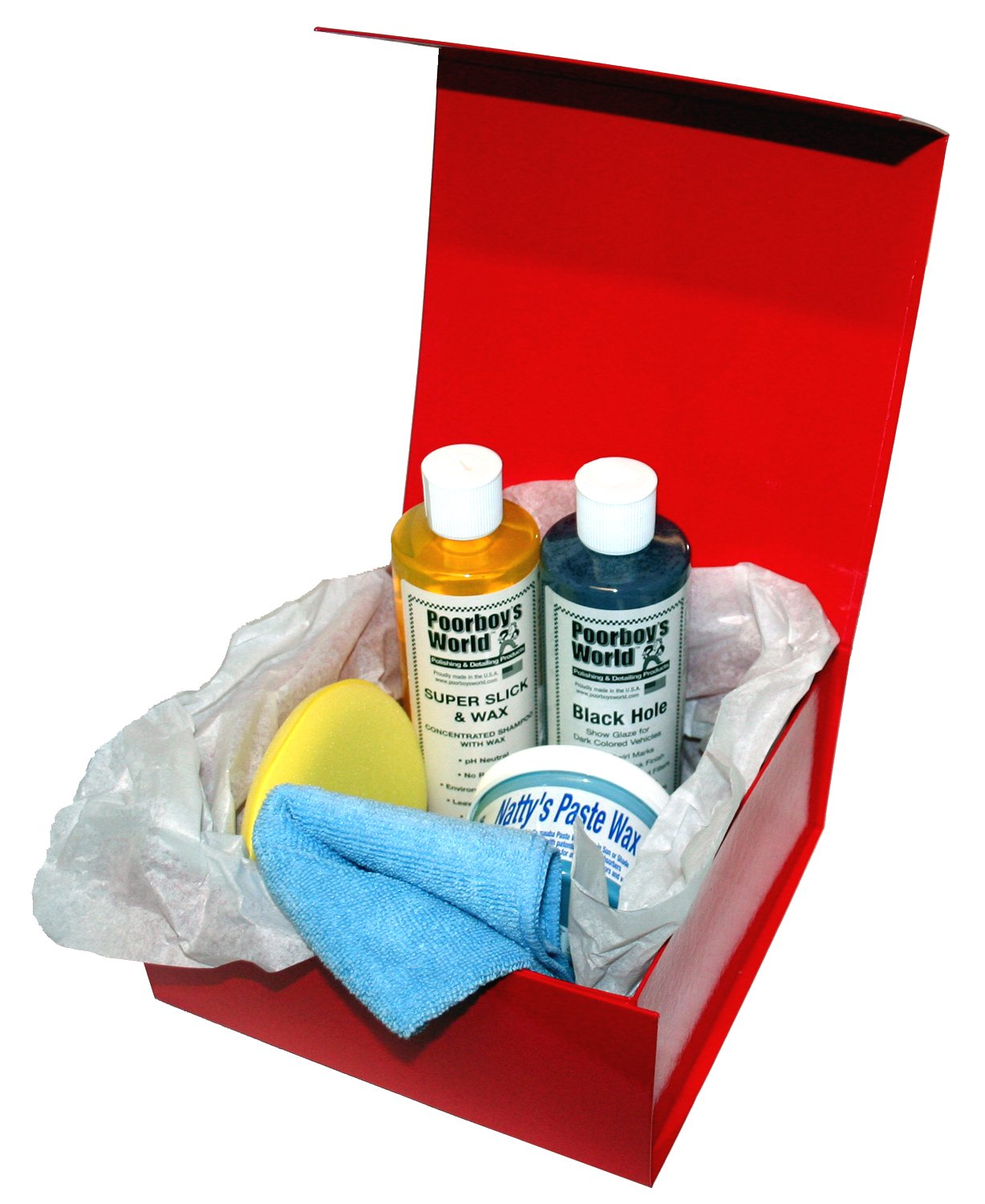 Car Cleaning Gift Box Poorboys Set DARK KIT Incl. Black Hole, Shampoo, Nattys Blue Wax