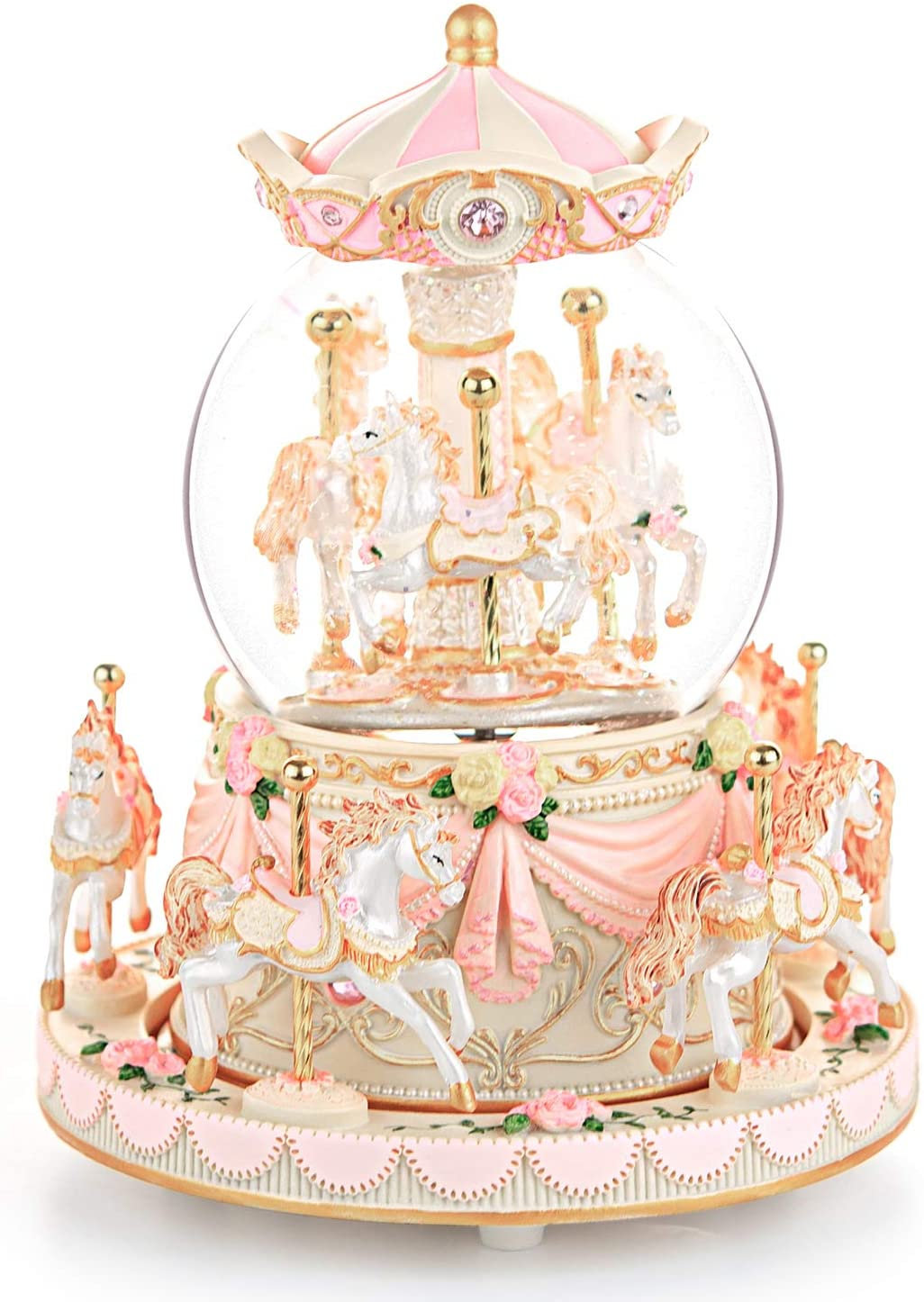 Carousel Snow Globe Gift, Music Box with Light 8-Horse Windup Musical Christmas Valentine Birthday Anniversary Present for Daughter Wife Girl Kids Clockwork Melody Canon