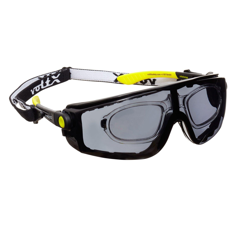 voltX 'Quad' 4 in 1 Schutzbrille mit Lesehilfe (+1,5 Dioptrien, klar) - mit Schaumeinsatz und abnehmbares Kopfband - CE EN166f Zertifiziert