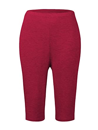 3526c8c55ca4b Zando Womens Soft Solid Color Fit Bamboo Knee Length Plus Size Leggings  Stretch Lightweight Breathable Ecofabric